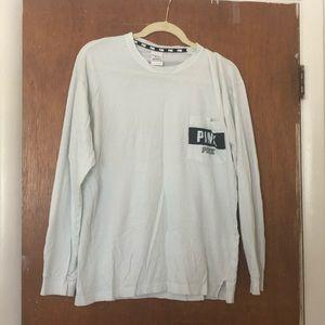 Mint green pink long sleeve tee shirt